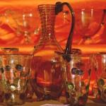 Service carafe gallo romaine avec spirale et gobelets à cabochons
